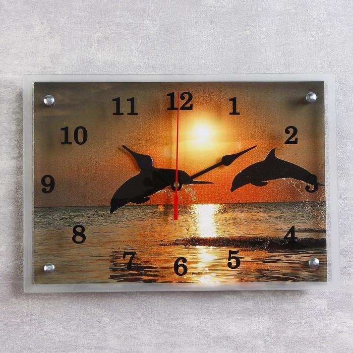 """Часы настенные, серия: Море, """"Дельфины на закате"""", 25х35  см, микс"""