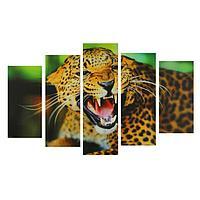"""Картина модульная на подрамнике """"Клыки гепарда"""" 2-25*52см, 2-25*66,5см, 1-25*80см, 80*140см 134962"""