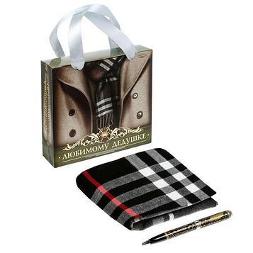 """Подарочный набор """"Любимому дедушке"""": шарф, ручка"""