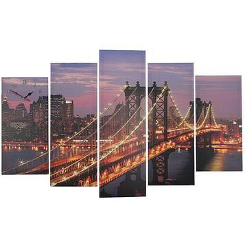 Часы настенные модульные «Манхэттенский мост ночью», 80 × 140 см