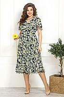 Женское летнее шифоновое зеленое нарядное большого размера платье Solomeya Lux 822 ромашки 48р.