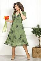 Женское летнее шифоновое зеленое нарядное большого размера платье Solomeya Lux 822 зелень 56р.