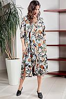Женское летнее шифоновое большого размера платье Teffi Style L-1501 рисованные_цветы 54р.