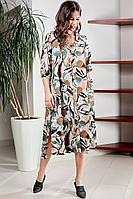 Женское летнее шифоновое большого размера платье Teffi Style L-1501 рисованные_цветы 58р.