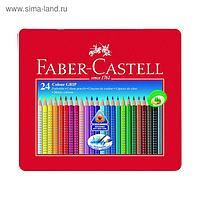 Карандаши 24 цвета Faber-Castell GRIP 2001 трёхгранные, в металлической коробке