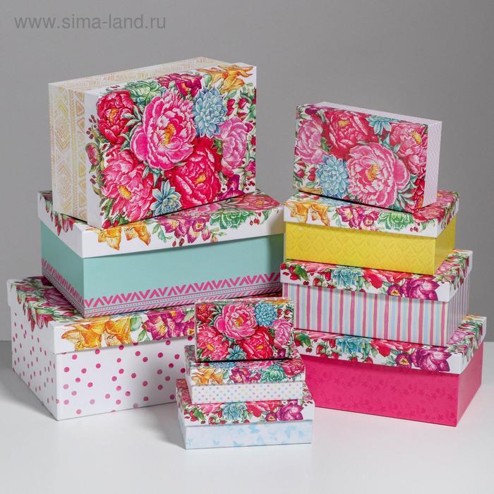 Набор подарочных коробок 10 в 1 «Цветы», 32.5 × 20 × 12.5 12 × 7 × 4 см - фото 1
