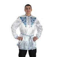 Рубаха русская мужская 'Синие цветы', атлас, р-р 48-50, цвет белый