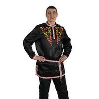 Рубаха русская мужская 'Хохлома. Ягоды', атлас, р-р 56-58, цвет чёрный