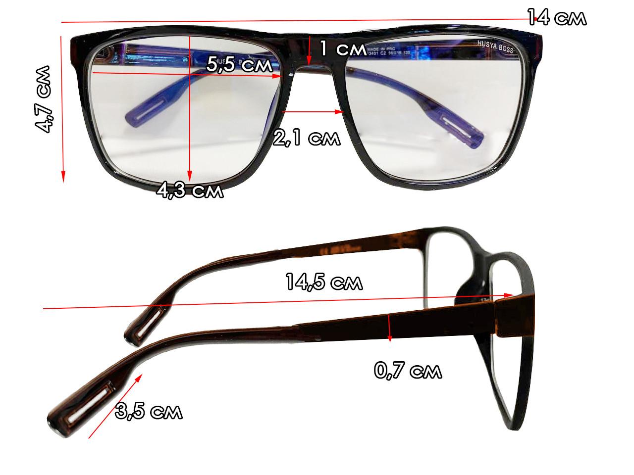 Компьютерные очки хамелеоны с тоненькой душкой узкая оправа глянцевая Husya boss черные - фото 2