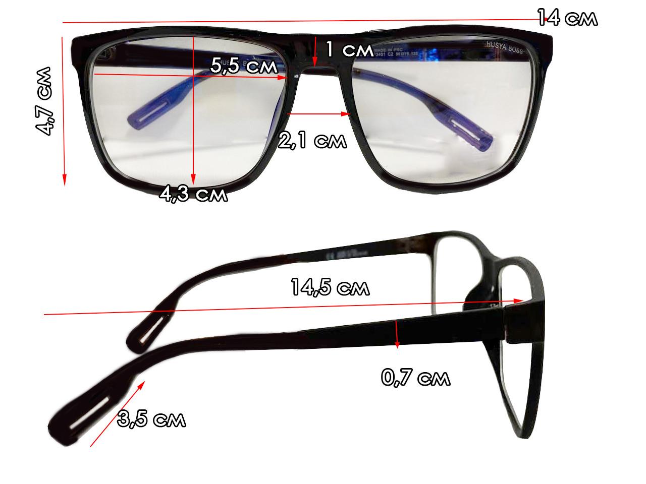 Компьютерные очки хамелеоны с тоненькой душкой узкая оправа матовая Husya boss черные - фото 2