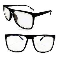 Компьютерные очки хамелеоны с тоненькой душкой узкая оправа матовая Husya boss черные