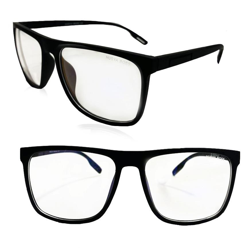 Компьютерные очки хамелеоны с тоненькой душкой узкая оправа матовая Husya boss черные - фото 1