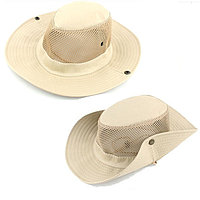 Шляпа для рыбалки охоты и походов трансформирующаяся с ветрозащитной веревкой бежевая