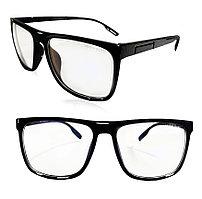 Компьютерные очки хамелеоны с тоненькой душкой узкая оправа глянцевая Husya boss черные