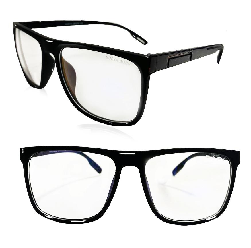 Компьютерные очки хамелеоны с тоненькой душкой узкая оправа глянцевая Husya boss черные - фото 1