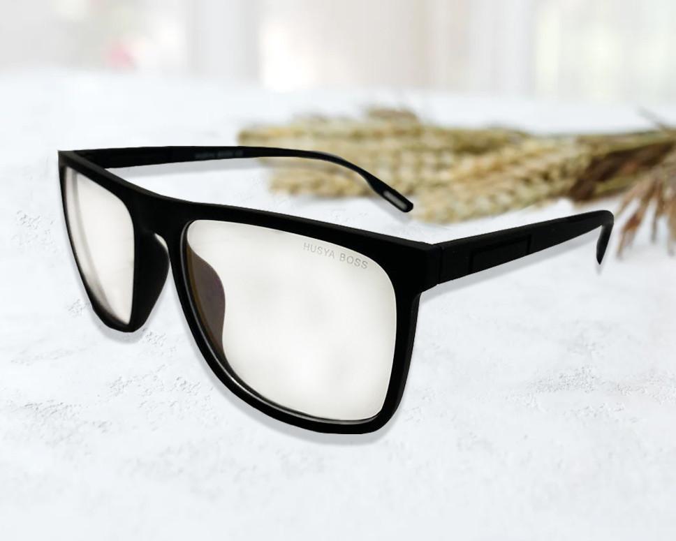 Компьютерные очки хамелеоны с тоненькой душкой узкая оправа матовая Husya boss черные - фото 10