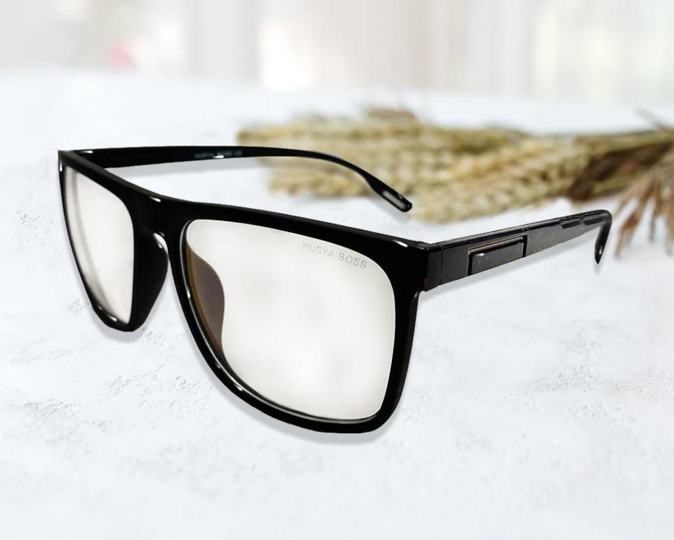 Компьютерные очки хамелеоны с тоненькой душкой узкая оправа глянцевая Husya boss черные - фото 10