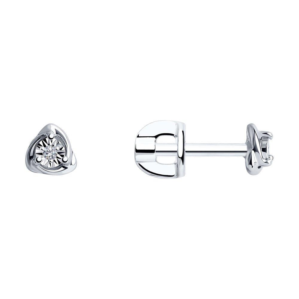 Серьги из серебра с натуральным бриллиантом