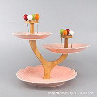 Трехслойная тарелка для десерта и фруктов