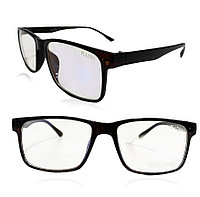 Компьютерные очки хамелеоны с тоненькой душкой узкая оправа глянцевая Plazma 01 черно-коричневые