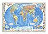 """Карта настенная на рейках """"Мир Политический с флагами"""" М1:24 млн  124х80 см"""