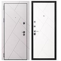 Дверь металлическая Berserker Flat Stout 17 софт смоки/белая (860 мм левое открывание)