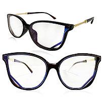 Компьютерные очки хамелеоны с тоненькой душкой Кошачья оправа глянцевая O`NeeiLL черно-коричневые