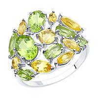 Кольцо из серебра с натуральным хризолитом и цитрином