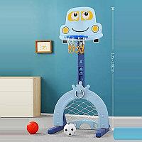 PITUSO Стойка баскетбольная Машинка (с кольцебросом,футб.воротами) Blue/Голубой (71*178h)
