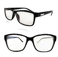 Компьютерные очки хамелеоны с тоненькой душкой узкая оправа глянцевая Plazma 02 черные
