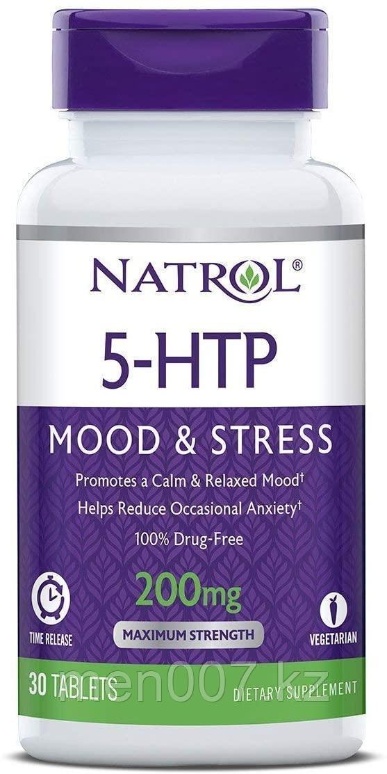 БАД Natrol, 5-HTP, медленное высвобождение, максимальная сила, 200 мг, 30 таблеток