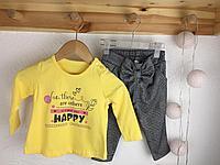 №16020 Костюм для дев. желтый верх и брюки в клетку 13622