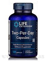 БАД Life Extension, комплекс витаминов, капсулы для приема дважды в день two per day, 120 капсул