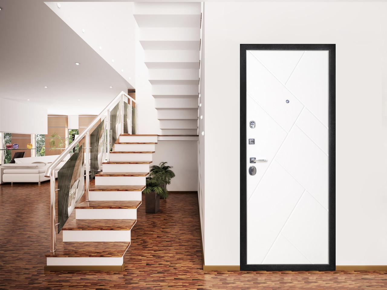 Дверь входная металлическая Flat Stout 17 Муар корич софт смоки/белая - фото 1