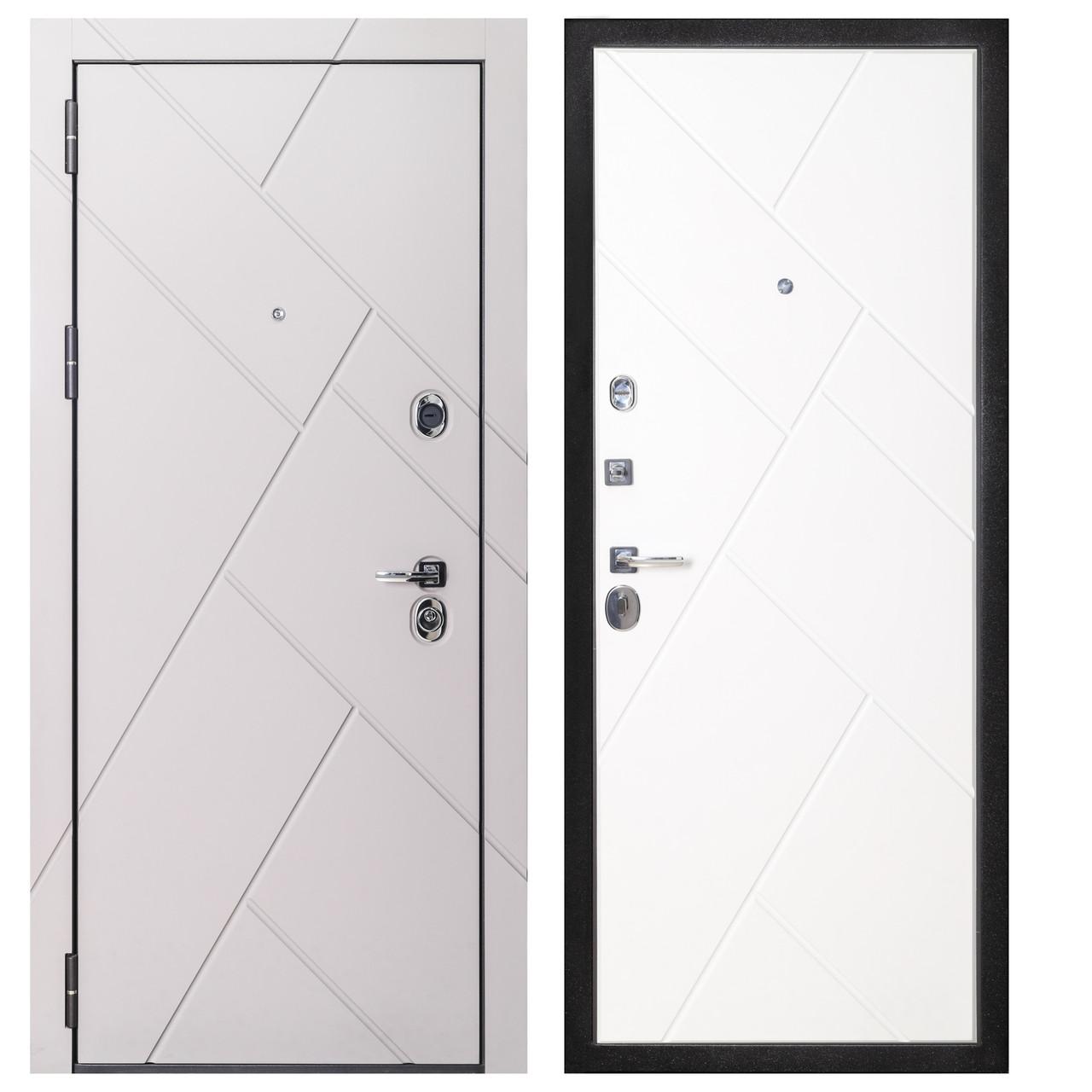 Дверь входная металлическая Flat Stout 17 Муар корич софт смоки/белая - фото 2
