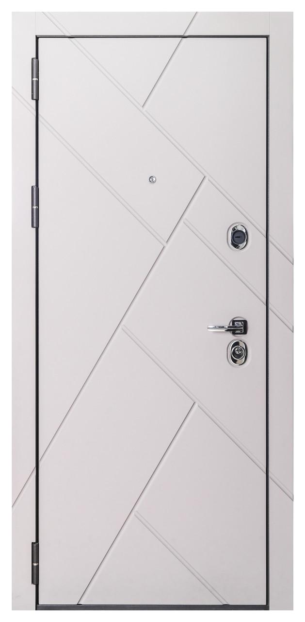 Дверь входная металлическая Flat Stout 17 Муар корич софт смоки/белая - фото 3