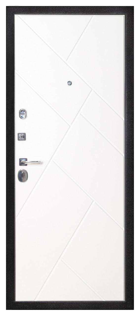Дверь входная металлическая Flat Stout 17 Муар корич софт смоки/белая - фото 4