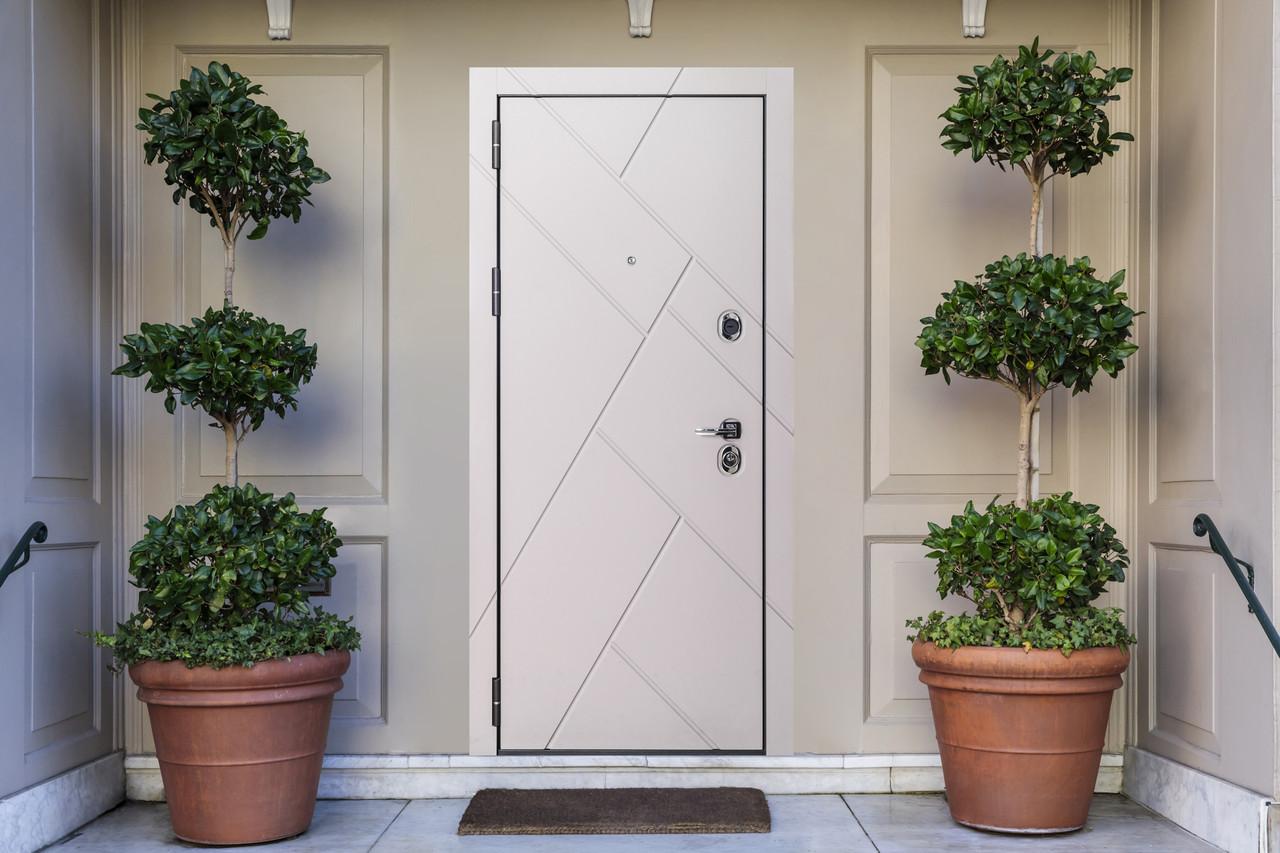 Дверь входная металлическая Flat Stout 17 Муар корич софт смоки/белая - фото 8