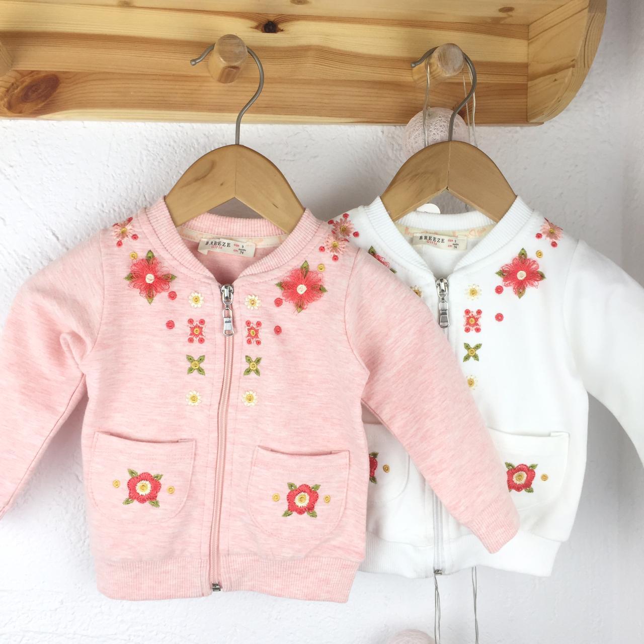 №16021 Жакет для дево. на замке с вышивкой бел/роз цв. 74-98 см 13177