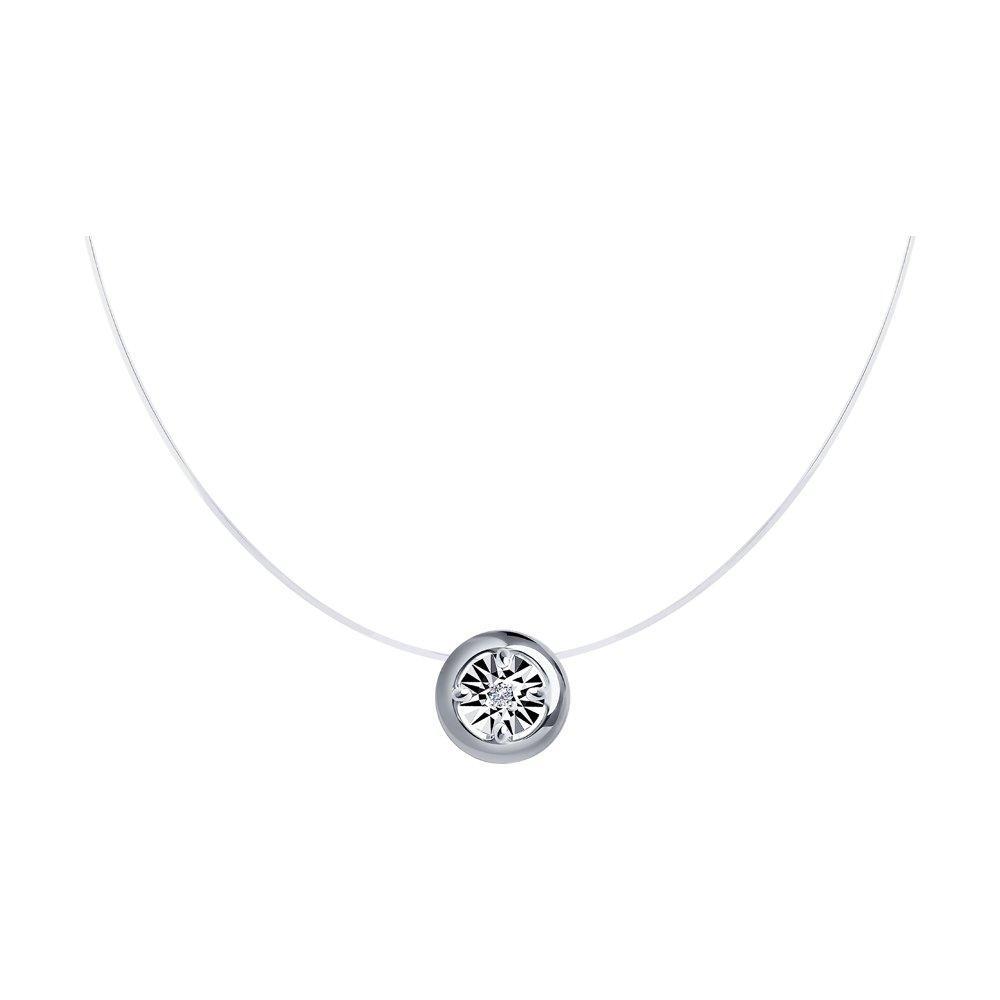 Колье из серебра с натуральным бриллиантом