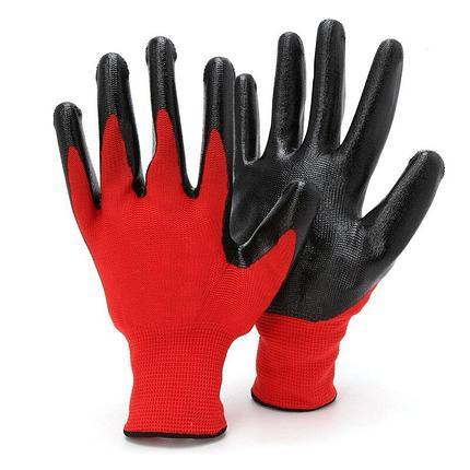 ПЕРЧАТКИ ПРОРЕЗИНЕННЫЕ красные/черные, фото 2