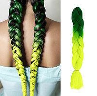 Канекалон двухцветные накладные волосы 60 см темно-зеленый с салатовым В38