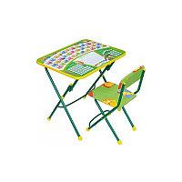 НИКА Набор мебели ПЕРВОКЛАШКА зеленый фон (стол-парта+мяг стул) h580