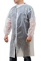 """ОПТОМ! Халат посетителя на липучках """"Стандарт"""" в инд.упак.,белый, рукав резинка, 110см XL №100 20гр"""