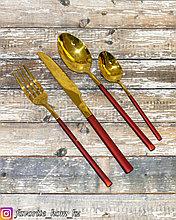Набор столовых приборов. Материал: Металл. Цвет: Золотистый/Красный. Набор: 4 предмета.