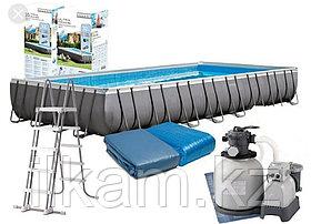 Каркасный бассейн Intex Ultra Frame 975x488x132 см + песочный ф/насос, лестница, тент, подстилка (26374), фото 2