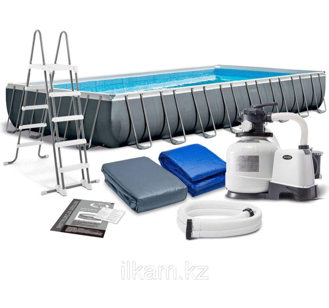 Каркасный бассейн Intex Ultra Frame 975x488x132 см + песочный ф/насос, лестница, тент, подстилка (26374)