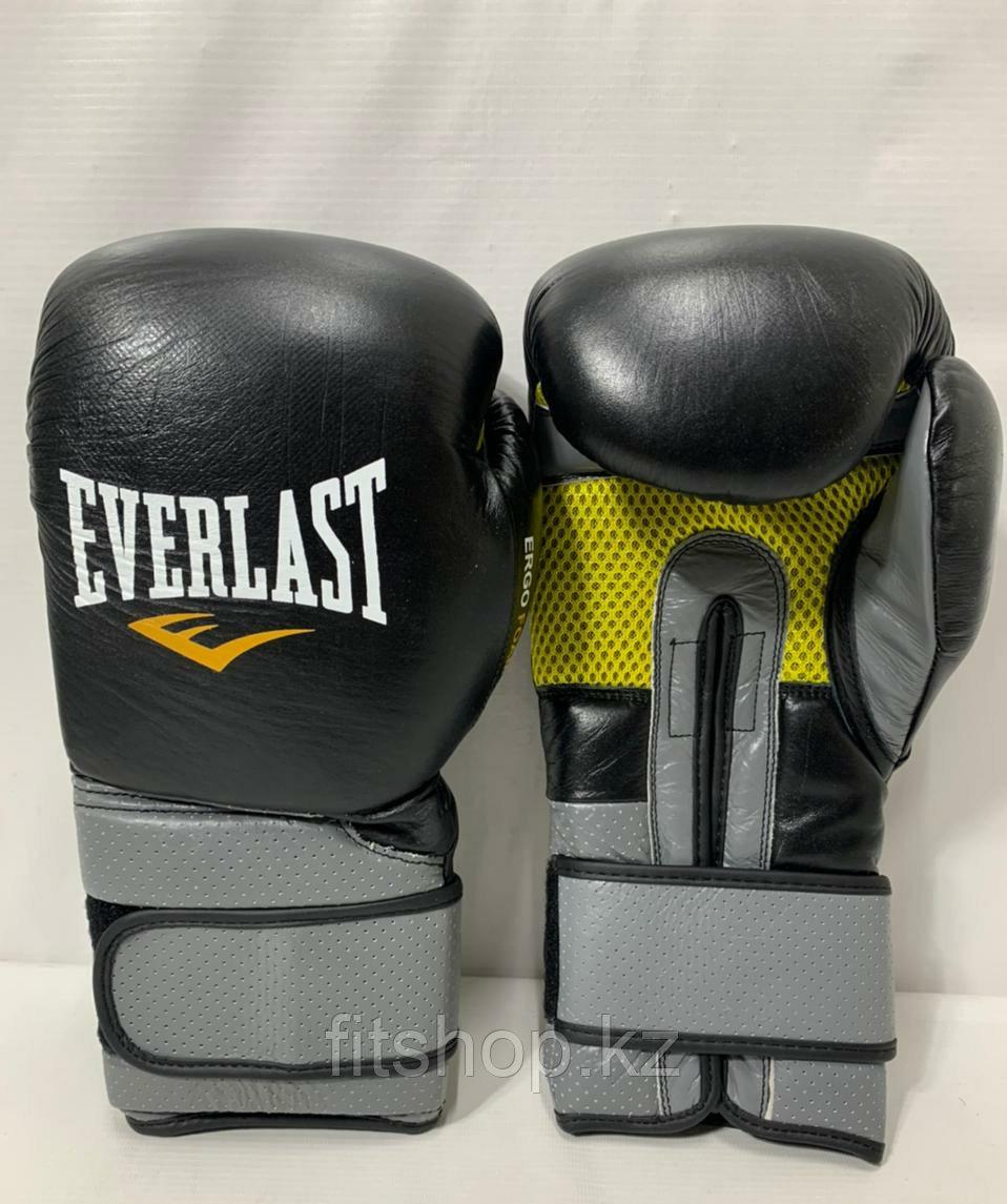 Боксерские перчатки Everlast ( натуральная кожа )  цвет черный /серый