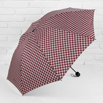 Зонт механический «Клетка», прорезиненная ручка, 4 сложения, 8 спиц, R = 50 см, цвет бордовый