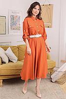 Женское летнее из вискозы оранжевое большого размера платье Мода Юрс 2672 терракот 52р.